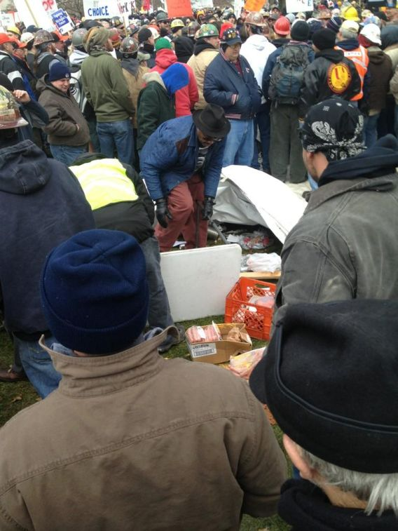 Clint's hot dog stand in Lansing, MI, decimated by union thugs, 12/11/2012