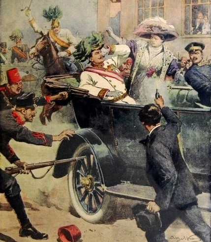 The assassination as illustrated by Achille Beltrame of the Italian newspaper Domenica del Corriere, 12 July 1914.