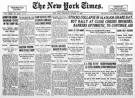 NY Times Stock Market Crash 1929