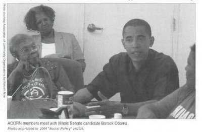 """ACORN Members meet with Illinois Senate candidate Barack Obama. Photo as printed in 2004 """"Social Policy"""" article"""