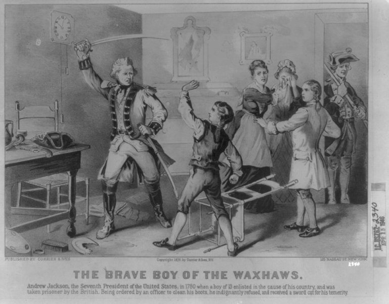 769px-Andrew-Jackson-disobeys-British-officer-1780