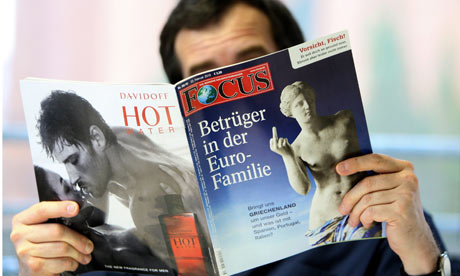 The cover of German news magazine Focus caused a media row between Germany and Greece. Photograph: Marc Mueller/EPA