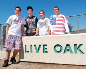 Live Oak High School students from left, Daniel Galli, Austin Carvalho, Matt Dariano and Dominic Maciel were sent home from school Wednesday because they were wearing American flag t-shirts on Cinco de Mayo. Photo by: Lora Schraft