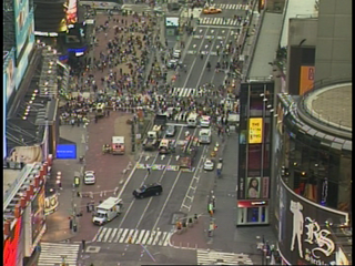 Times Square was shut down on Saturday night after police officers found a suspicious package in the back seat of a car that was on fire.  CBS
