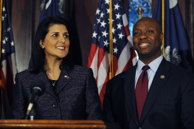 South Carolina Gov. Nikki Haley announces Rep. Tim Scott as Sen. Jim DeMint's replacement in the Senate during a news conference at the South Carolina Statehouse, Monday, Dec. 17, 2012, in Columbia, S.C. , making him the only black Republican in Congress and the South's first black Republican senator since Reconstruction. (AP)