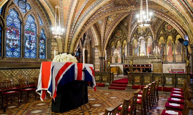 The coffin of former British prime minister Margaret Thatcher rests in the Crypt Chapel of St Mary Undercroft beneath the Houses of Parliament on the eve of her funeral on April 16, 2013 in London, England. Dignitaries from around the world will join Queen Elizabeth II and Prince Philip, Duke of Edinburgh as the United Kingdom pays tribute to former Prime Minister Thatcher Baroness Thatcher during a Ceremonial funeral with military honours at St Pauls Cathedral. Lady Thatcher, who died last week, was the first British female Prime Minister and served from 1979 to 1990.   (Photo by Leon Neal - WPA Pool/Getty Images)