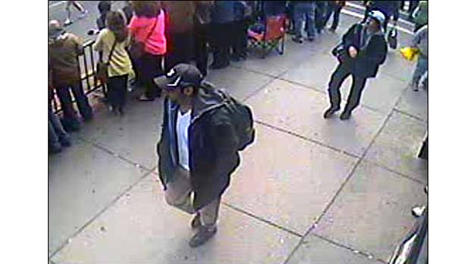 Suspects 1 and 2 seen walking down Boylston Street towards the finish line.