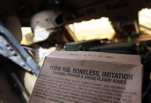 Chris Hondros / Getty Images file A U.S. Marine MRE (Meals Ready to Eat) ration package is seen in a transport vehicle in March 2010 near Khan Neshin, southern Helmand province, Afghanistan.