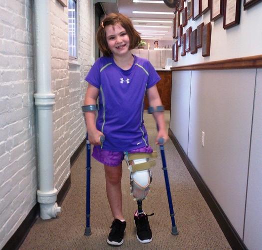 7-year-old Jane Richard walking after losing her leg in the Boston Marathon bombing. (Family photo.)