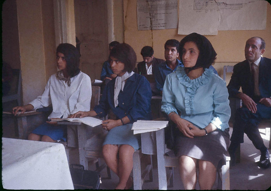 Students at the Higher Teachers College of Kabul where Dr. Podlich, the photographer, worked and taught for two year's with UNESCO (United Nations Educational, Scientific and Cultural Organization).