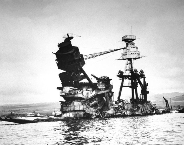 Bob Landry—Time & Life Pictures/Getty Images Not published in LIFE. The exposed wreckage of the battleship USS Arizona. Read more: Pearl Harbor: Photos From the Pacific and the Home Front After Dec. 7 | LIFE.com http://life.time.com/history/pearl-harbor-rare-photos-from-the-pacific-and-the-home-front-1941-1942/#ixzz2mqxyYf8T
