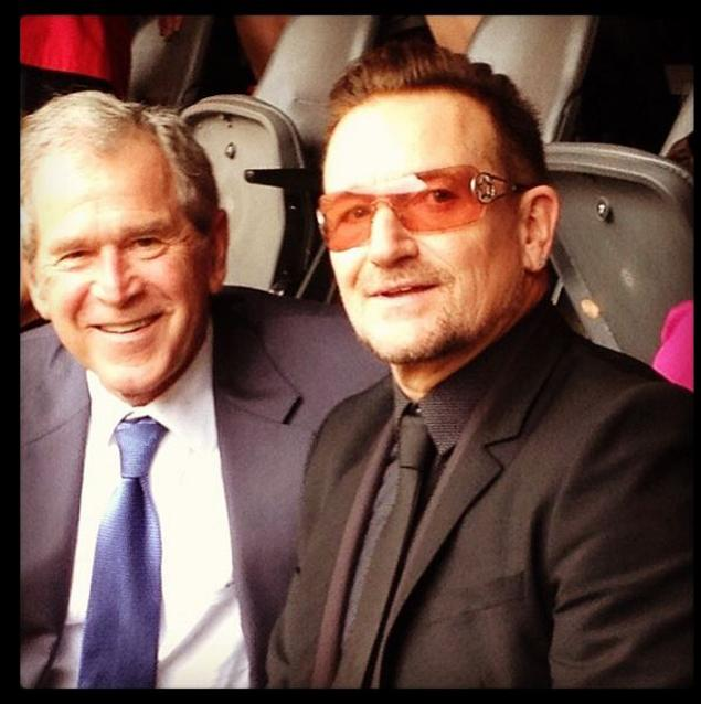 "The NY Daily News wonders whether this photo from today's funeral is ""appropriate?"" George W Bush with Bono via Instagram"