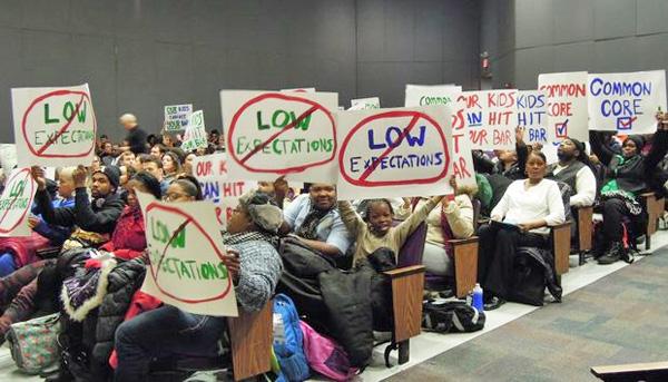 New York City families protest Common Core (Photo: WNYC)