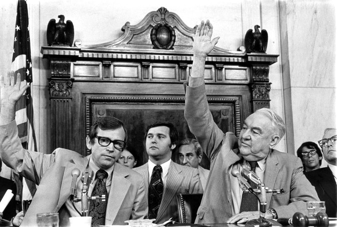 Senator Howard H. Baker Jr., left, the ranking Republican on the Watergate committee, and Senator Sam J. Ervin Jr., the chairman, voting in 1973 to subpoena White House tapes. Credit Associated Press
