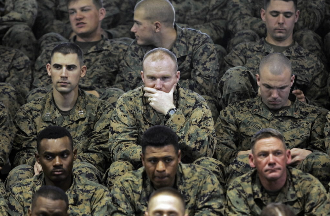 Marines at Camp Lejeune, NC appeared less than thrilled, check phone messages during Obama speech. Tumblr.com