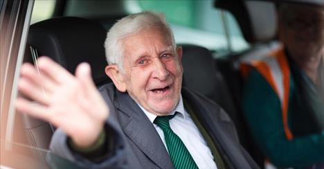 This is a June 7, 2014 file photo of Bernard Jordan, the war veteran found in Normandy after being reported missing from his care home. A British nursing home said an ex-naval officer who gained attention after vanishing from his care facility and taking an impromptu bus ride to France to attend D-Day commemorations has died. Bernard Jordan was 90. Gracewell Healthcare confirmed Jordan's death on Tuesday Jan. 6, 2015. (AP Phto/Chris Ison/PA, File) (The Associated Press)
