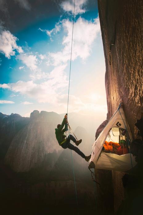 Tommy Caldwell free climbing El Capitan's Dawn Wall Photograph: Corey Rich/Aurora Photos