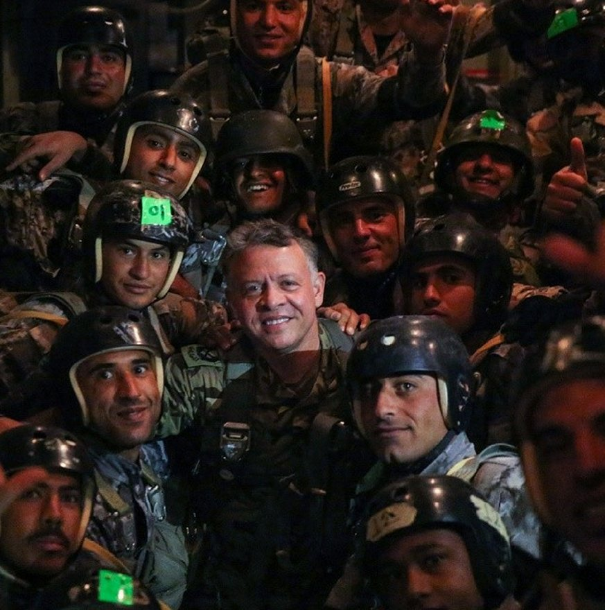 King Abdullah II with his troops