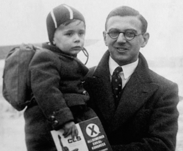 Mr. Winton is shown here in an undated family photograph with one of the children he rescued. (PA/Press Association Images)